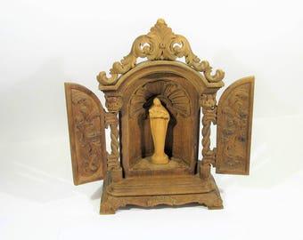 antique wood carving altar st maria madonna