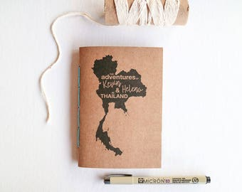 Custom Travel Journal // Personalised Notebook with Custom Map and Names // Blank Pocket-sized A5 Travellers Notebook // Gap Year Gift