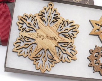 Personalized Ornament - Christmas Snowflake Gift Box Set - Custom Engraved Wood Snowflake - OAK - Made in the USA! Stephanie