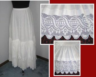 Antique Petticoat Skirt~Hand Made Crochet Lace~Victorian Edwardian Skirt-1900s-Bridal Wedding-Boho Summer Skirt