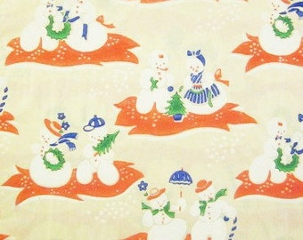 Vintage Wrapping Paper - Christmas Snow Play - Red - Full Sheet Gift Wrap - Lees Textile Company