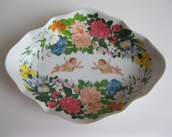 Ceramic Confetti tray with flowers