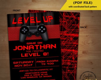 Level Up Video game birthday party invitation game on invite gaming party games truck red YOU EDIT TEXT and print yourself invite 5904