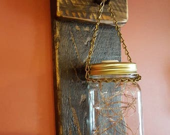 Mason Jar Sconce  (dark walnut stain)