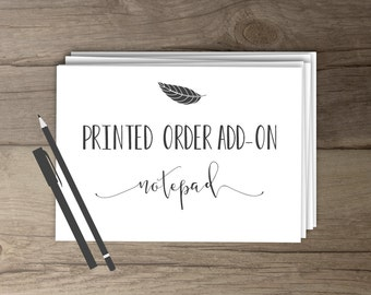 Printed Order Add-On | notepad | *please see listing details