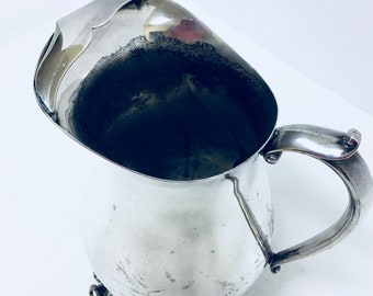Vintage W & S BLANKINGTON Silverplate Water Pitcher with Ice Lip (#3010)