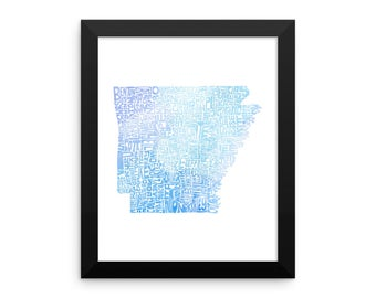 Arkansas watercolor typography map art FRAMED print state poster wedding engagement graduation housewarming anniversary nursery wall decor