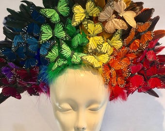 Butterfly Headpiece- Rainbow Butterfly Headdress- Spring Fascinator- Derby -Tea Party Hat- Monarch Headpiece -Butterfly Fascinator