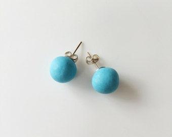 Pastel Turquoise Stud Earrings, Round Earrings, Geometric Earrings, Chunky Earrings, Minimalist Earrings, Polymer Clay, Stud Earrings, Boho