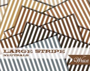 Brown digital paper stripe woodland scrapbooking woodsy paper in brown gold kraft gray : B0193 v301 neutral