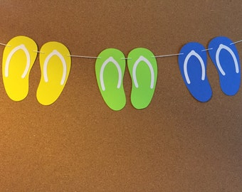Flip flop garland, baby shower garland, birthday garland, paper sandal garland,  summer garland