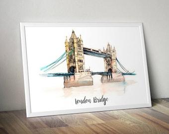 London Bridge Print, Monument Poster, Art Print, Wall Art, Watercolor Painted Monument