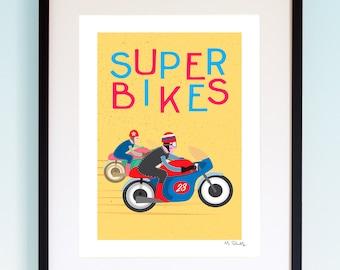 Super Bikes, Poster, Nursery Print, Baby Boy Nursery Art, Motorbike, Boys Wall Art, Toddler Room Art, Children's Wall Art, Home Decor, Kids