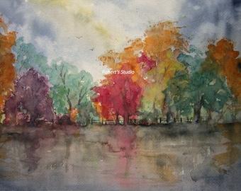 Print of Original Watercolor landscape painting, watercolor art, watercolor print, autumn painting, autumn landscape, fall trees