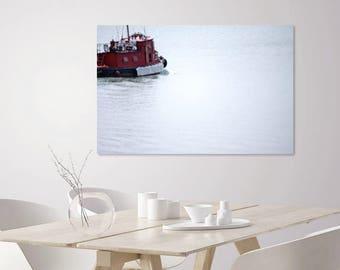 Nautical Decor | Lake House Decor | Large Coastal Decor Wall Art  | Nautical Wall Decor | Minimalist Large Art | Nautical Nursery | Red Boat