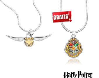 Golden Snitch necklace + Hogwarts necklace from Harry Potter