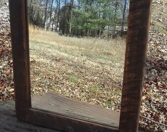 Barn Wood Mirror - Reclaimed Wood Mirror - Wooden Mirror - Wall Mirror - Large Wood Mirror - Rustic Mirror