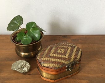 geometric brass and rattan woven box