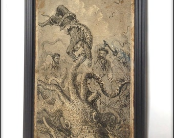 Giant Octopus fighting with Sailors aged print in frame.