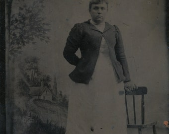 Tintype of woman stand-- painted studio backdrop