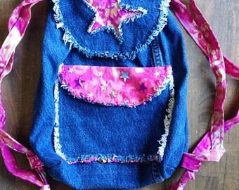 Drawstring Backpack - Batik -  Handmade - Denim Backpack- Purse - Boho bag - Drawstring Bag -