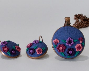 Floral Polymer Clay Applique Pendant and Earring Set