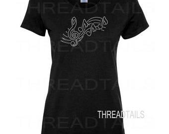 Music Tshirt | Music Teacher Gift | Treble Clef Shirt | Music Tee | Music Lover Gift | Rhinestone Treble Clef, 3 Notes, Fancy Staff