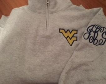 Monogrammed West Virginia Mountaineers Quarter Zip Sweatshirt in Gray