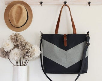 LARGE, Bluegray linen chevron, Dark navy tote / diaper bag / shoulder bag.  9 inside pockets. Waterproof poly lining available