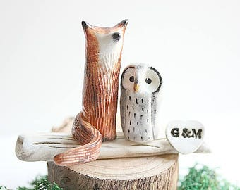 Wedding cake topper Fox and Owl, Fox and Owl Wedding cake topper, Clay Fox and Owl, Woodland Cake Topper, Rustic Cake topper, Animal topper