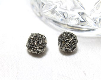 Round Sterling Silver Marcasite Ball Beads 11mm 1pcs