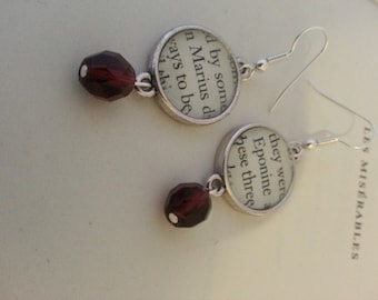 Les Miserables Marius and Eponine Book Page Earrings