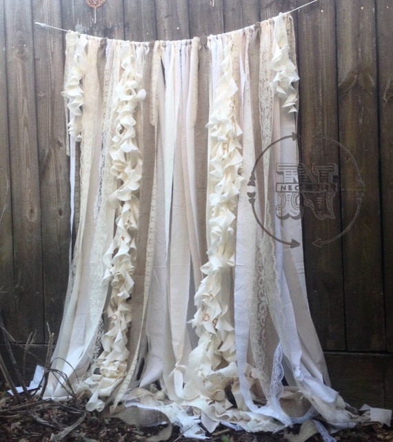 Burlap Curtains Ribbon Lace Curtain Rustic Garland Wedding