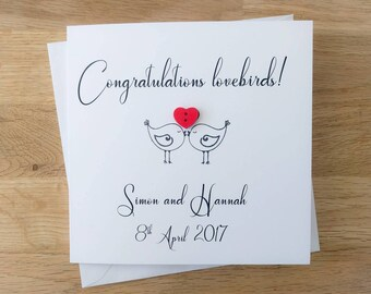 "Handmade personalised ""Congratulations lovebirds"" wedding card with wooden heart button - engagement card"