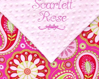 Personalized Baby Girl Security Blanket  - Red Pink and Green Gypsy Paisley - Lovie Size, 18x18