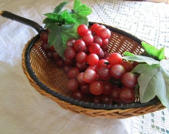 Vintage Leaf Shaped Basket   Woven Rattan Basket