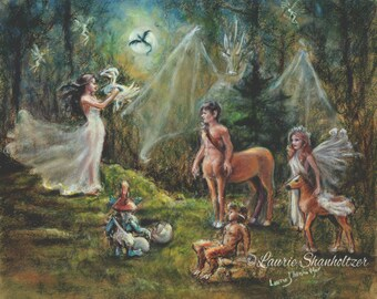 "Fantasy Magic, mythology - ORIGINAL pastel painting - ""Birth of a Dragon"" Centaur Faun Fairies pegasus, Laurie Shanholtzer 18x20"