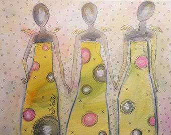 "Angel Painting   Trinity 8 x 10 x 1.5""   Mixed Media Art  Original   Home   Office   Oddimagination   Denise Baldwin"