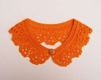Safron Orange Peter Pan Crochet Collar