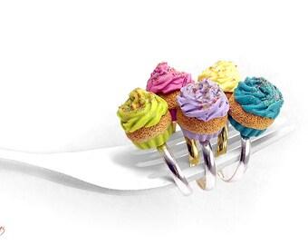 Colorful Cupcake Ring, Miniature Food Jewelry, Cupcake Jewelry, Colorful Rings, Polymer Clay Ring, Food Jewelry Kawaii, Foodie gift