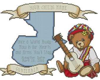 Guatemala Girl Adoption Cross Stitch Design