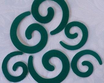 24 Swirls, Die Cut Swirl, Swirl Embellishments, Chipboard Swirls, Green Swirl