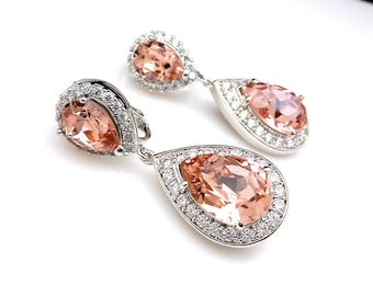 CLIP ON wedding jewelry bridal earrings gift prom brideamaid Clear white cubic zirconia rhodium silver finish vintage rose crystal teardrop