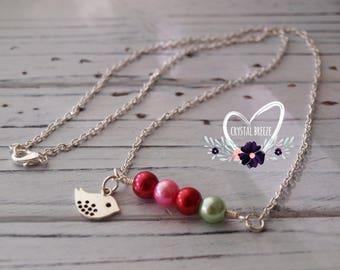 Women's Handmade Personalized Birthstone Bird Charm Pendant Necklace | Birthstone Jewelry | Bird Necklace | Family Birthstone Jewelry Gift