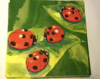 Decoupage Napkins,  vintage paper napkins, large lady bugs on green.