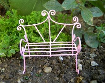 Fairy Garden Bench Miniature Furniture fairy Accessories Miniature Pink Bench Miniature Garden AccessoriesDollhouse Miniature