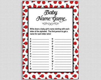 Ladybug Baby Shower Baby Name Game, Red Baby Shower Activity, A to Z Game, Baby Girl Shower Game, DIY Printable, INSTANT DOWNLOAD