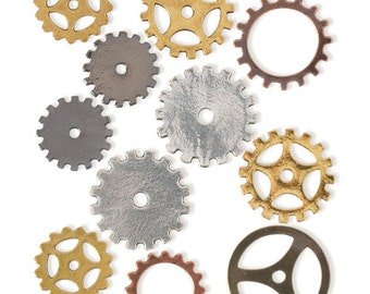 Small Assorted Gears, Gold and Silver (STEAM083)