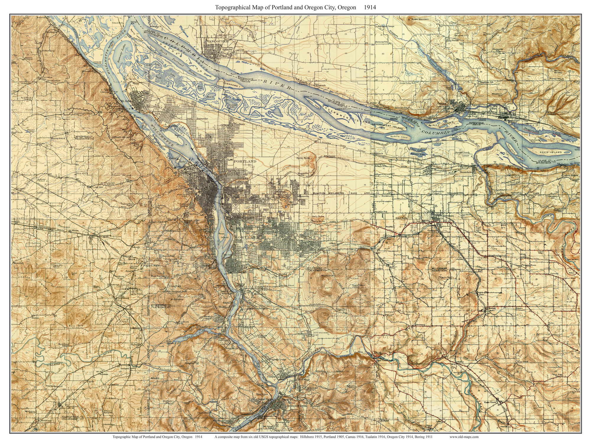 Portland and Oregon City 1914 Old Topographic Map USGS