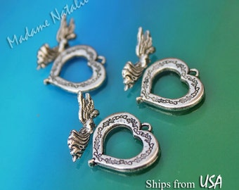 Heart and Angel Toggle Clasp (3 sets), Antique Silver Toggle Clasp, Heart Shaped Clasp, Angel Clasp, Fancy Toggle Clasp